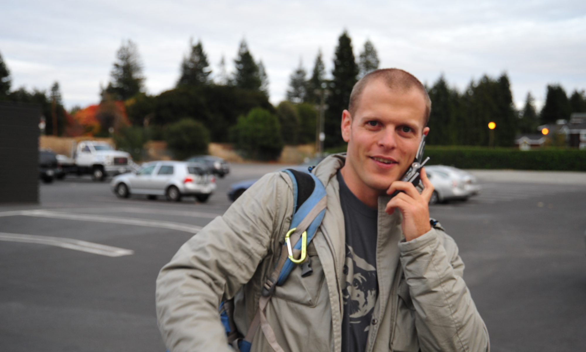 Tim Ferriss in November 2008, talking on a mobile phone.